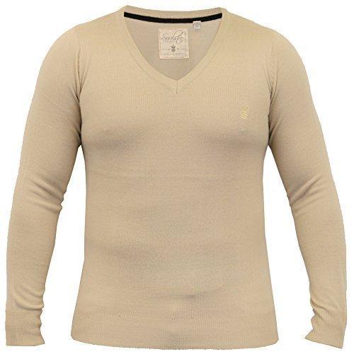 Pullover Herren Soul Star Strickpulli Rundhals Pullover V Ausschnitt Leicht Winter - Stein - ALPHAVEE, X-Large