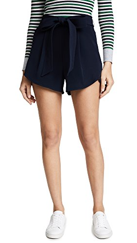 Milly Women's Italian Cady Petal Trapunto Shorts, Navy, 10 by MILLY