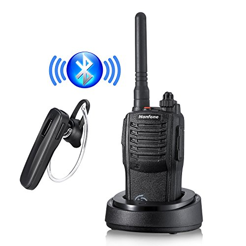 4 Channel Voice Activated Intercom (Nanfone Bluetooth Walkie Talkie with Bluetooth Earpiece NF-667 3-5 Miles Long Range Two Way Radio 5W for Car, Restaurants, Truck, Office, Hiking, Cruise)