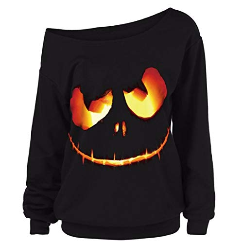 Women Halloween Costume Pumpkin Devil Sweatshirt Oblique Off Shoulder Top Shirt(A,X-Large) -