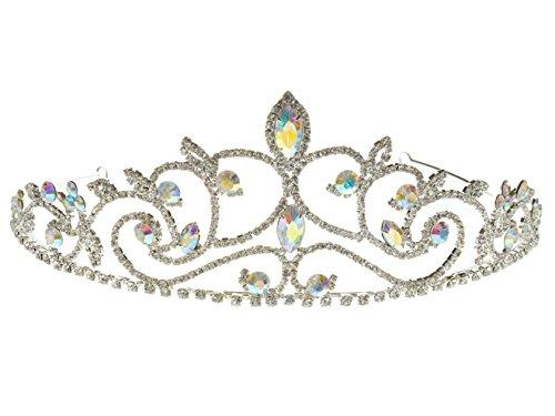 SparklyCrystal Rhinestone Crystal Wedding Tiara Silver Crown - Town At Aurora Center