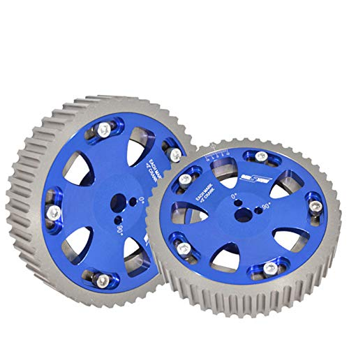 - Fit Mitsubishi EVO 1-8/Eclipse/Galant/Dodge Colt (4G63 Engine Only) ReplacementAdjustable 2 Piece Cam Gear Shaft Wheel Blue