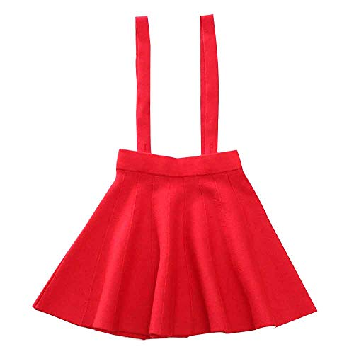 Girl's Kids Solid Knit Flare A Line Mini Suspender Skirt Red Tag 150 (11-12 Years)