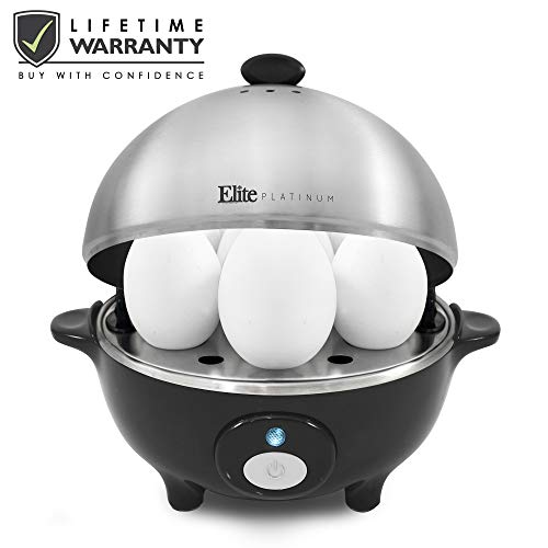 Elite Cuisine EGC-508 by by Maxi-Matic Easy Electric Egg Poacher, Omelet & Soft, Medium, Hard-Boiled Measuring Cup Included, 7 Capacity, Stainless Steel - Steel Stainless Egg Steel Poacher