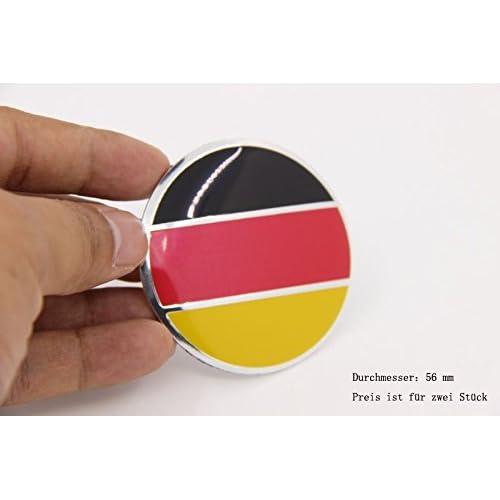 R269 drapeau allemand 2X autocollants pour roues et enjoliveurs 56 mm Diamètre Centre De Roue Cap Emblème Auto-Adhésif Pour Surfaces