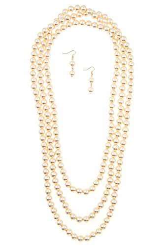 Karmas Canvas Elongated Faux Pearl Necklace Strand Set with Bracelet (Cream)