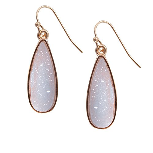 Humble Chic Simulated Druzy Drop Dangles - Sparkly Long Teardrop Dangly Earrings, Lavender, Simulated Amethyst, Simulated Tanzanite, Purple, (Purple Teardrop Ring)