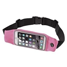 RedHoney Universal Running Waist Belt Sport Exercise Waistband for iPhone 6/6S,6/6S Plus,Galaxy S5,S6,Note 4/5 (Pink)