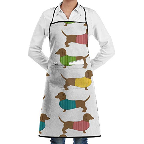 = Dachshund Dog Cute Wallpaper Adjustable Kitchen Chef Apron with Pocket and Extra Long Ties,Commercial Men Women Bib Apron for Cooking,Baking,Gardening