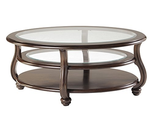 Ashley Furniture Signature Design - Yexenburg Traditional Oval Glass Top Cocktail Table - Dark Brown