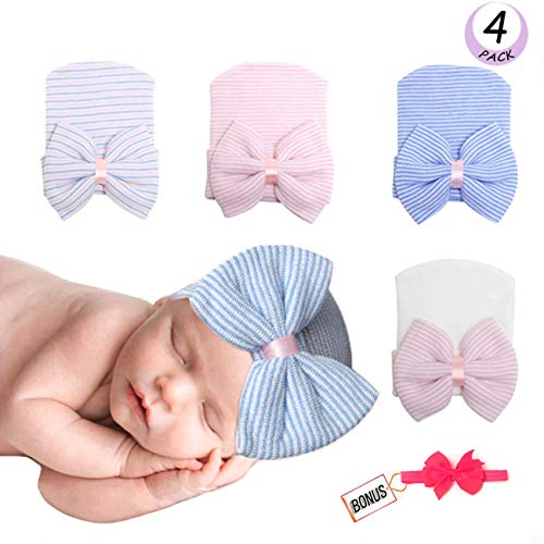 Newborn Baby Girls Cups Hospital Hats Cotton Soft and So Cute With Bow (4 ()