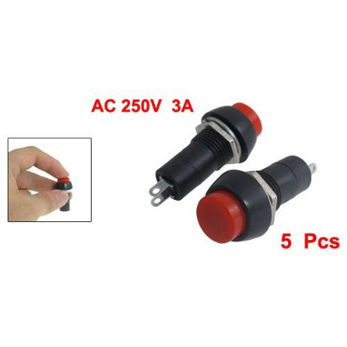 SODIAL(R) 5 Pcs AC 250V 3A SPST On/Off Self Locking Push Button Switch