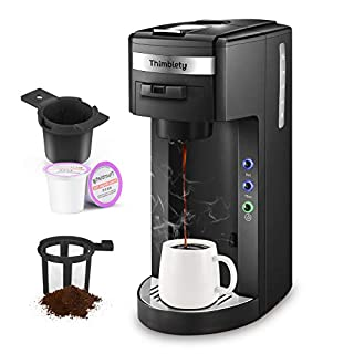 Coffee Maker,Thimblety Coffee Machine,Single Serve Coffee Brewer for K-Cup Pods, Compact 4 in 1(K-Cup Pods,Grounds&Loose-Leaf Tea)8 to 15oz.Brew Sizes,Reusable Filter&Travel Mug,40 Oz Reservoir,Black (Black)