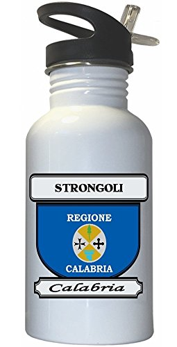 Strongoli, Calabria City White Stainless Steel Water Bottle Straw Top