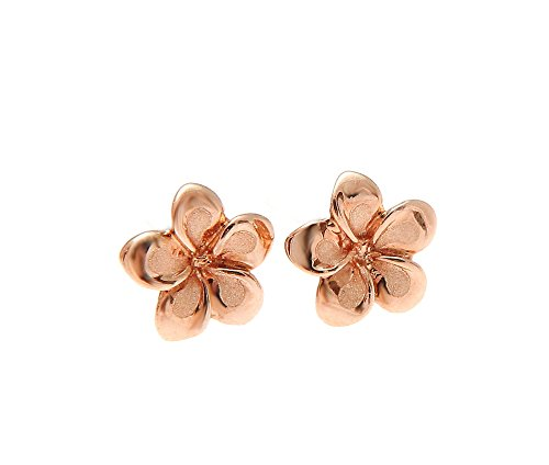 (14K solid pink rose gold Hawaiian 7mm plumeria flower stud earrings)