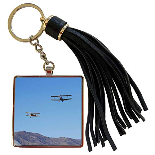 3dRose Danita Delimont - Airshows - De Havilland DH 82A Tiger Moth Biplane, Airshow - AU02 DWA7180 - David Wall - Tassel Key Chain (tkc_133902_1)