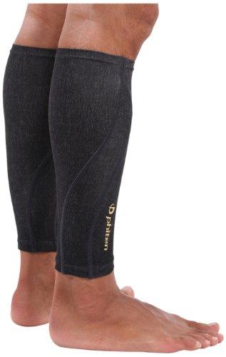 Phiten Compression Calf Sleeves (Pair), Heather Black, Large