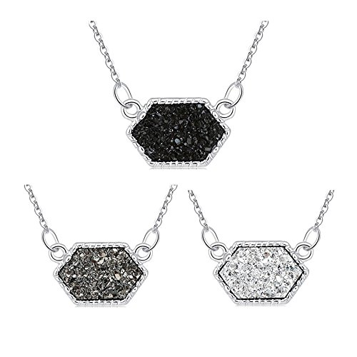 MissNity Faux Druzy Pendant Necklace Fashion Jewelry Women Girls Hexagon Charm Silver Plated White Black Grey Drusy Quartz Children Birthday Gift, 3 Pack (Silver+Black&Gray&White)