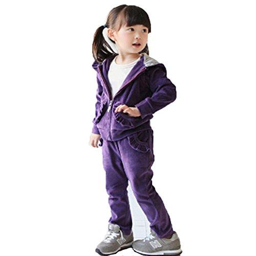 Banner Bonnie Little Girls' Velvet Long Zip Tracksuit Hoodie Sweat Sets 4-5 Years Purple-1 by Banner Bonnie