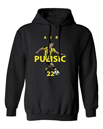"SMARTZONE Borussia Dortmund Christian Pulisic ""Air Pulisic"" Men's Hoodie Sweatshirt (Black,M)"