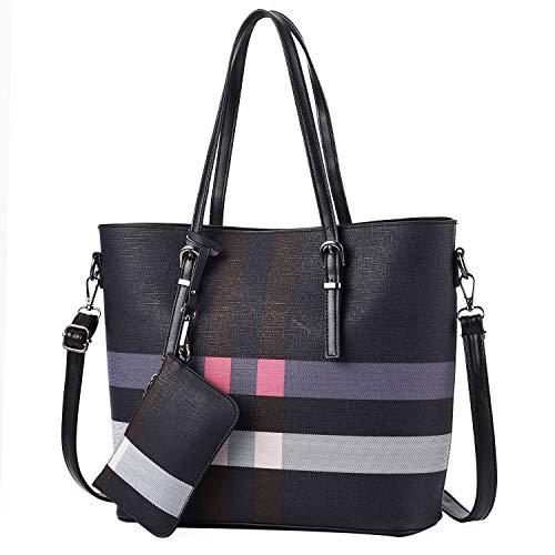 - I IHAYNER Women Fashion Plaid Handbags Tote Bag Large Capacity Shoulder Bag Top Handle Satchel Purse (Black)
