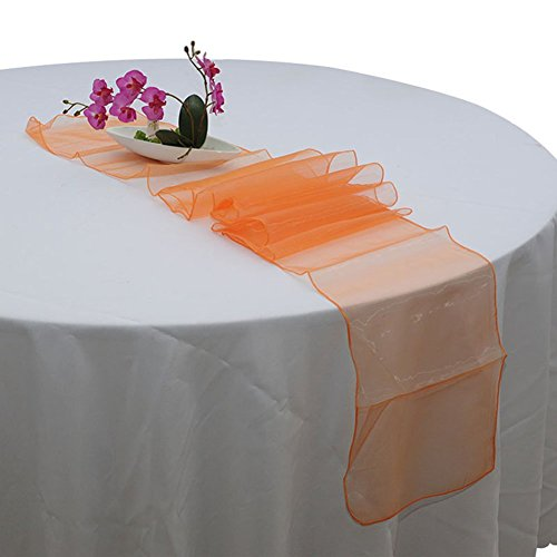 LingStar Premium Quality 30x275cm Sheer Organza Table Runner Wedding Party Home Decoration Orange 10 (Black And Orange Party Decorations)