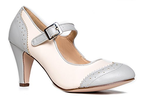 J. Adams Kym Oxford Kitten Heel, Grey Cream, 6.5 B(M) US - Vintage Womens Pumps