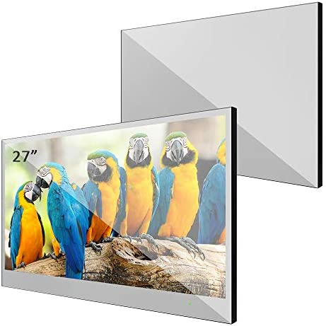 Elecsung 27inch Smart Mirror TV IP66 Waterproof TV with Integrated HDTV(ATSC) Tuner for Bathroom,Hotel with Remote Control