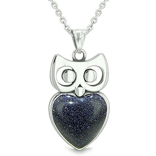 - Amulet Owl Cute Heart Lucky Charm Positive Energy Blue Goldstone 18 Inch Pendant Necklace