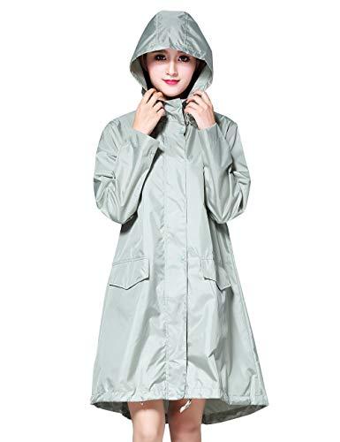 Women's Stylish Rain Poncho Waterproof Rain Coat with Hood Sleeves and Pocket (Wasabi Green, M)