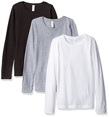 Clementine Apparel Big Girls' Three-Pack Everyday Long-Sleeve T-Shirts, Black/White/Grey, Large/10-12