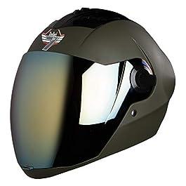 Steelbird SBA-2 7 Wings Full Face Helmet In Matt Finish with Gold Visor (Medium 580 mm, Matt Battle Green)