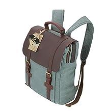 Koolertron Women Vintage Retro Leather Canvas Backpack Rucksack Weekend Bag Satchel Bag for Tablet Laptop (Blue)