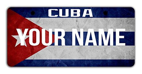 BleuReign(TM) Personalized Custom Name License Cuba Flag Plate Bicycle Bike Moped Golf Cart 3