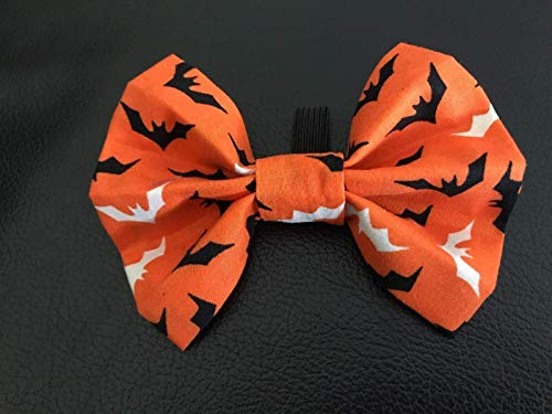 Dog Bow Tie in Orange Halloween Bats Fall/Autumn Pet Fashion - Small 4