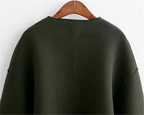 Col Femme Vintage Fashion Manteau Unie Jacken Armgrün Casual Large Outerwear Printemps Chic Coat Battercake Couleur Rond Elégante Manches Longues Automne Outdoor Courte Mode UwZ05qpx