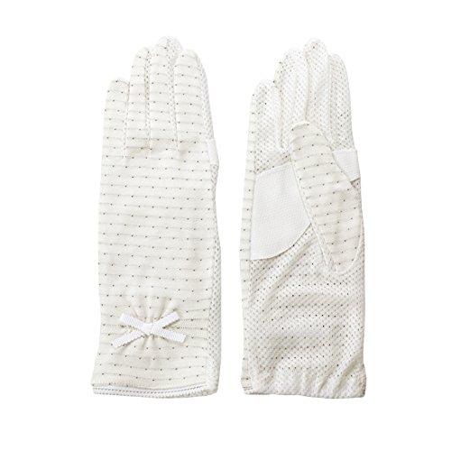 「清涼」UV細リボン付き手袋 ドット柄 すべり止め付き 【手のひらメッシュ】