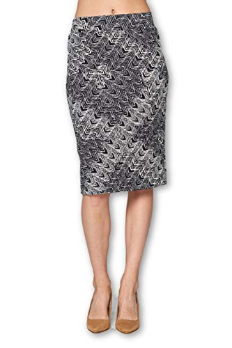 (Women's High Waist Knit Stretch Multi Print Office Pencil Skirt (S-3XL) -Made in USA (Black White 5, 2X-Large))