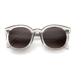 zeroUV - Womens Plastic Sunglasses Oversized Retro Style with Metal Rivets (Black Lavender)
