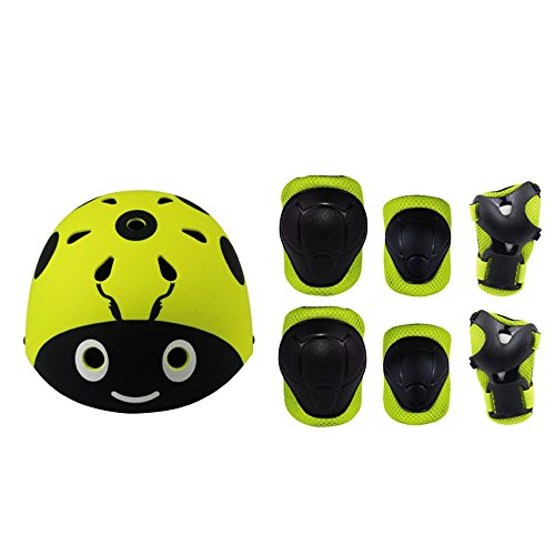 Kiwivalley 7 Pieces Kids Outdoor Sports Protective Gear Set,Kids Safety Helmet,Knee & Elbow Pads,Wrist Guards for Tricycle Roller Skating Skating Cycling(4-8 Years Old) (Yellow Ladybug)]()