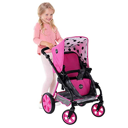 iCoo 3-in-1 Sturdy Steel Doll Stroller with Adjustable Handle (3+) (Best Stroller For Three Kids)