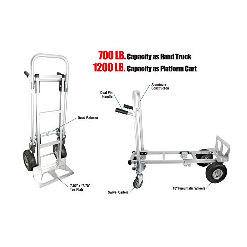 Pack-N-Roll 83-295-917 Convertible Aluminum Hand Truck Dolly by Pack-N-Roll