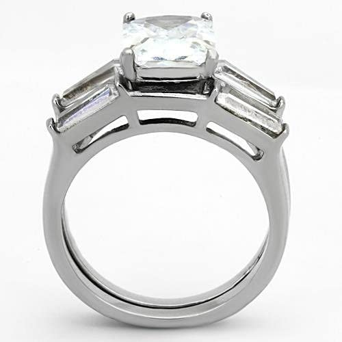 Emerald Cut Rectangle Cz Stainless Steel 2 Piece Wedding Engagement Ring Set size 5,6,7,8,9 /& 10