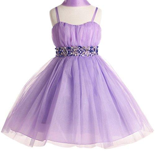 Big Girls' Stunning Rhinestone Studded Waist Pageant Party Flower Girl Dress Lavender 14
