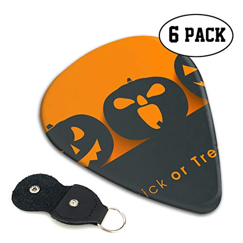 Nice Music Halloween Pumpkin Silhouette Trick Or Treat Ultra Thin 0.46 Med 0.71 Thick 0.96mm 6 Pieces Each Base Prime Celluloid Ivory Jazz Mandolin Bass Ukelele Plectrum Guitar Pick Pouch Display
