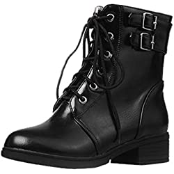 Opinionated Boots for Women, Rome Shoes Booties Casual Cross Lace-Up Belt Buckle Short Boots Shoes for Women Heels and Pumps
