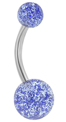 Forbidden Body Jewelry 14g Grade 23 Titanium Blue Ultra Glitter Acrylic Double Ball Belly Button Ring ()