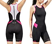 Santic Women's Triathlon-Suit One-Piece Sleeveless Tri-Suit - Padded Quick-Drying Slimming for Running Swi