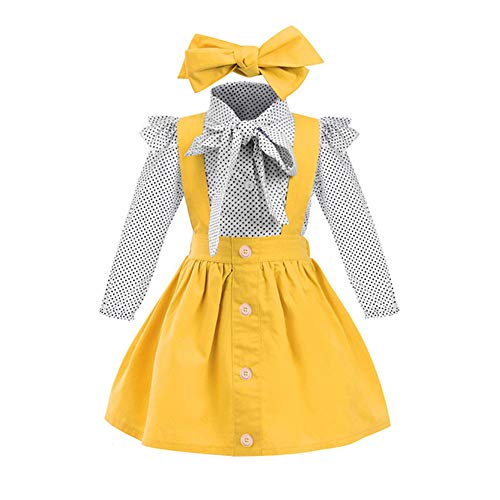Toddler Baby Girl Dress Floral Rompers Strap Skirt Overall Outfits Clothes (Long Sleeve-Yellow, 1-2 Years)