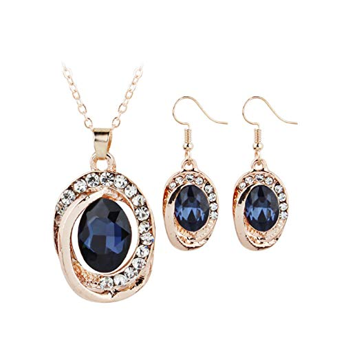 nanzhushangmao Women's Shiny Crystal Rhinestone Silver Plated Pendent Chain Necklace Stud Earring Costume Fashion Jewelry Set ()